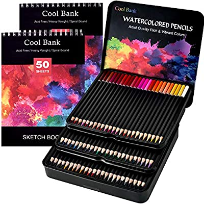 72 Professional Watercolor Pencils, Art Supplies with 2 x 50 Page Drawing Pad (A4) for Kids and Adults, Premium Artist Lead with Vibrant Colors & Blending Effects, Ideal for Coloring Books