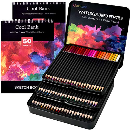 (72 Professional Watercolor Pencils, Art Supplies with 2 x 50 Page Drawing Pad (A4) for Kids and Adults, Premium Artist Lead with Vibrant Colors & Blending Effects, Ideal for Coloring Books)