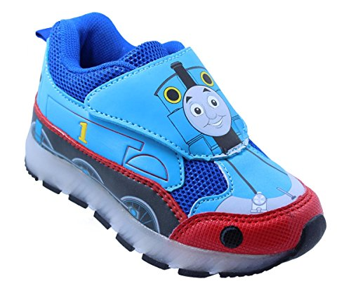 Thomas The Train Toddler Boys' Light-Up Train Athletic Running Shoe Sneaker Blue (5 M US - Lighted Train