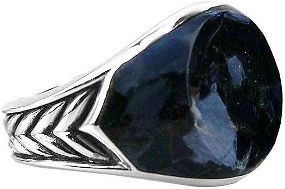 David YURMAN Sterling Silver Round Chevron PIETERSITE Ring Size 10 37R