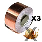 Copper Foil Tape - with Conductive Adhesive - Slug & Snail Repellent, Guitar, EMI Shielding, Electrical Repair, Stained Glass (18mm x 4Meter Set of 3 - (3/4 inch x 13 Feet x 3 pcs)