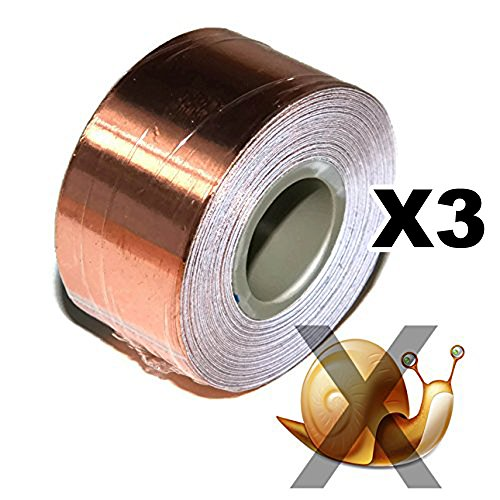 Copper Foil Tape - with Conductive Adhesive - Slug & Snail Repellent, Guitar, EMI Shielding, Electrical Repair, Stained Glass (18mm x 4Meter Set of 3 - (3/4 inch x 13 - Foil Waterproof Tape