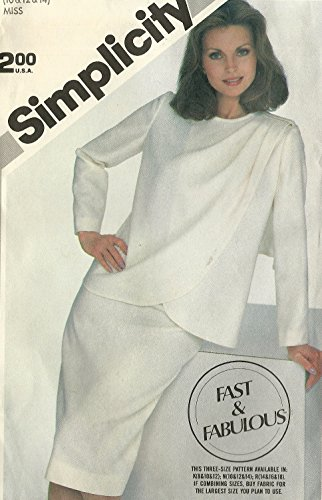 Simplicity vintage 1980s sewing pattern 5791 Grecian drape front suit - Size 10-14