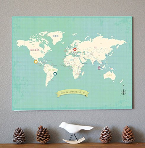 My travels personalized world map 24x18 wall art print childrens save gumiabroncs Image collections