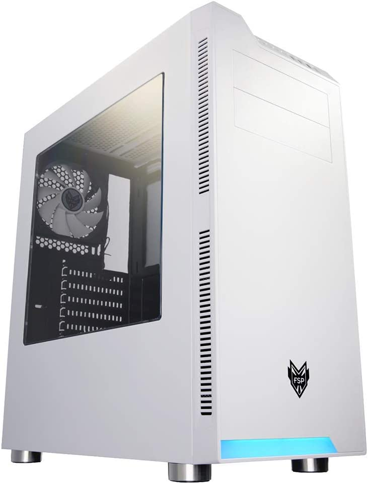 オウルテック FSP製 PCケース ミドルタワーケース FAN付 サイドアクリルパネル フロントLEDバー 1年保証 ホワイト CMT240-WH