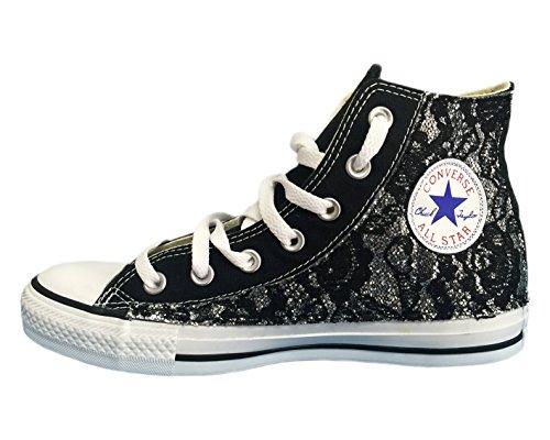 sotto occhielli Nero e Star argento All glitter pizzo nero Converse xCqT4Rw4
