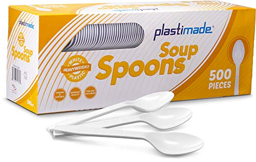 Plastimade Extra Heavyweight White Plastic Disposable Soup Spoons. 500 - Soup Spoon Plastic White