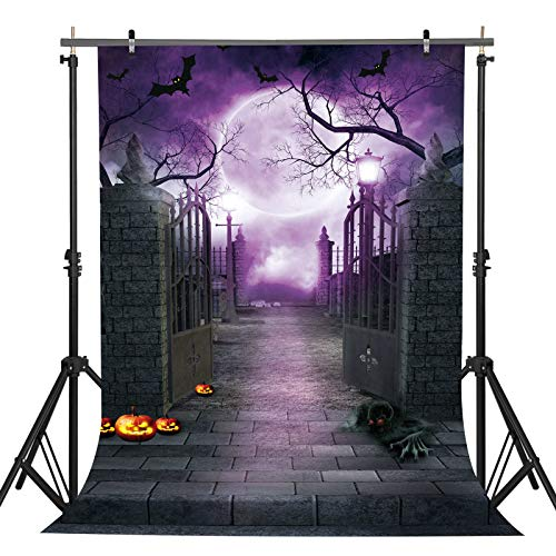 5x7ft Durable/Soft Fabric Halloween Decorations Decor Backdrop for Photography Horrible Party Banner Photo Background Photo Studio Booth Props