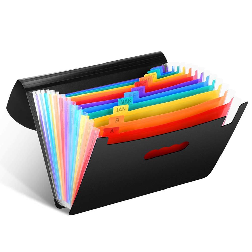 Trieur Documents A4 - Extensible Accordéon Organiseur Porte-documents de Bureau Papiers et Etiquettes Colorées, Boîtier Chemise Plastique pour Feuilles A4