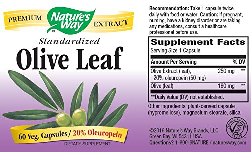 033674154809 - Nature's Way Olive Leaf 20% Oleuropein, 60 Vcaps carousel main 5