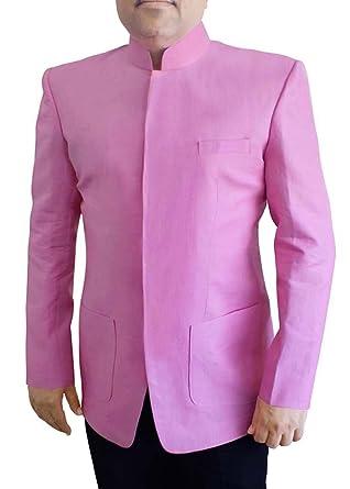 INMONARCH Hombres ropa rosa 2 Pc traje Jodhpuri cuello de ...