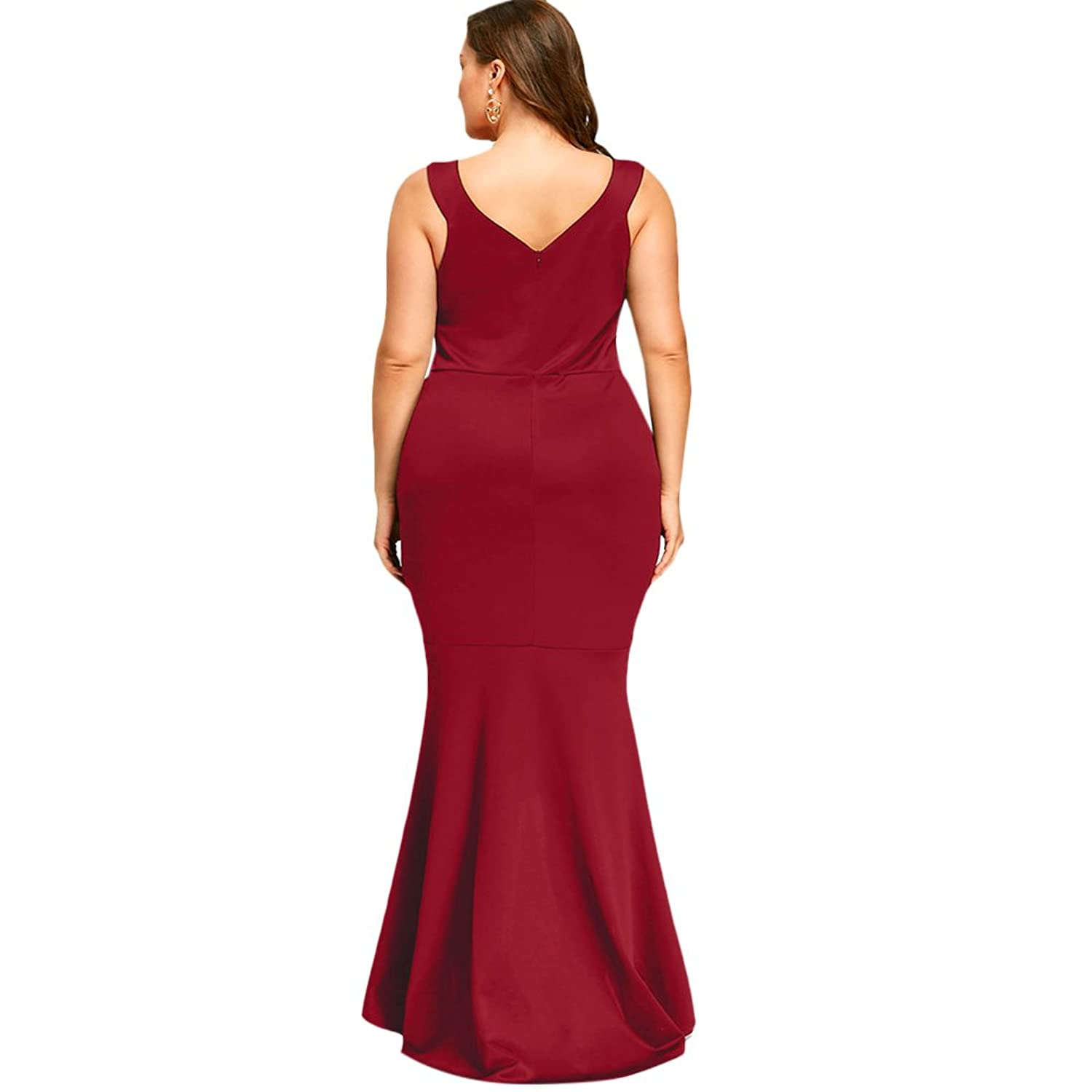 Amazon.com: Langstar Plus Size V Neck Floral Embroidered Sleeveless Mermaid Prom Dress(Red, 5XL): Clothing
