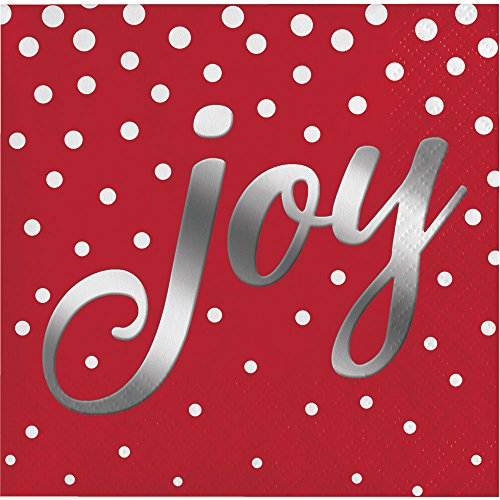 - Creative Converting 16-Count Beverage Paper Napkins, Holiday Sparkle and Shine Red
