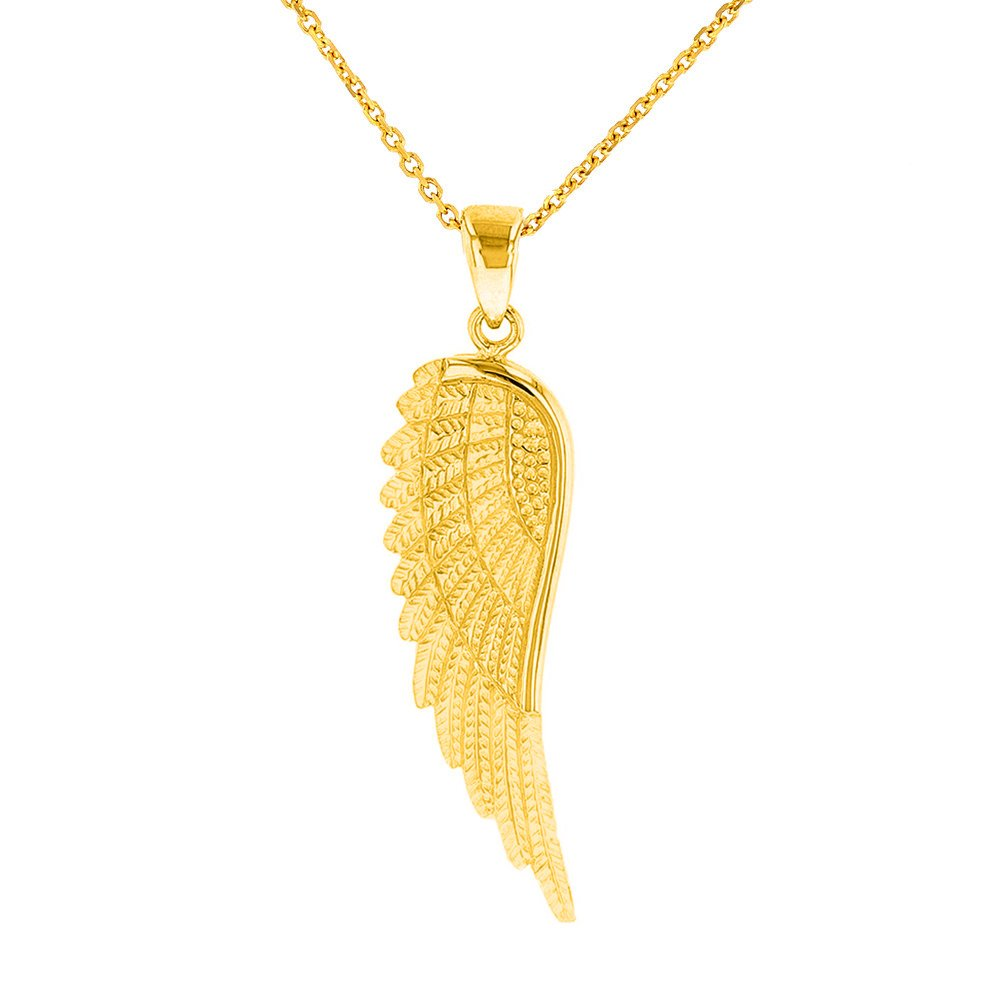 Solid 14k Yellow Gold Textured Angel Wing Charm Pendant Necklace, 16''