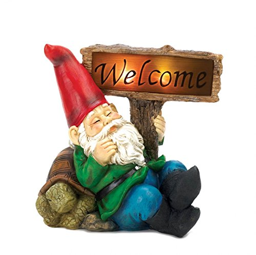 Garden Gnome, Funny Gnome Christmas Ornament Statues, Welcome Gnome Solar Statue (Sleepy Welcome Gnome Sign)