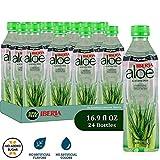 Iberia Aloe Vera Drink with Pure Aloe Pulp (Pack of 24) Original, No Added Sugar, No Artificial Color & Flavor, BPA Free