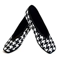 Nufoot Indoor Girls Shoes Ballet Flats, Black and White Hounds Tooth, X-Small 2 Count