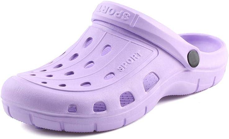 LWQ Zueco Sanitario EVA Unisex,Zapatos de Verano, Zapatos de jardín resbaladizos, Zapatos de Playa Baotou, Sandalias, Zapatillas de Estudiante, Purple_37: Amazon.es: Hogar