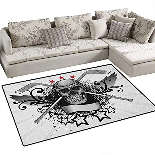Hockey,Rug,Illustration of a Skull with Hockey Sticks Swirls and Stars Scary Mascot,Floor Mat for Kids,Black White Pale Grey Size:40