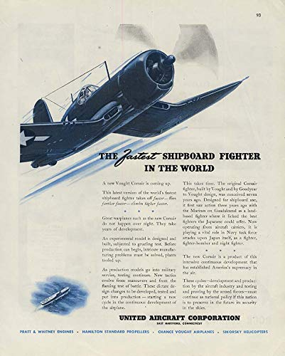 Fastest shipboard fighter in the world Vought Corsair F4U ad 1945 F