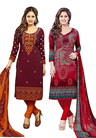Salwar Studio Women's Pack of 2 Synthetic Unstitched Dress Material Combo-MONSOON-2155-2160