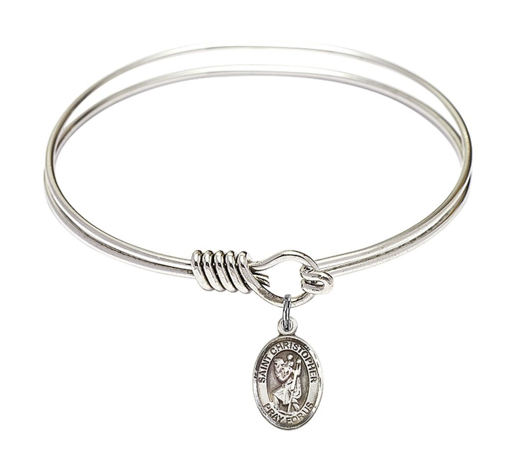 Rhodium Plate Round Eye Hook Twist Bangle Bracelet with Saint Christopher Petite Charm, 6 1/4 Inch