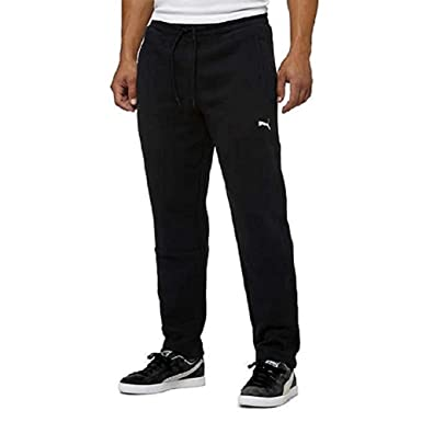 Puma Mens Fleece Sweatpants,Cord Drawstring,Black,Small