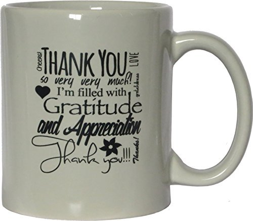 - Thank You Ceramic Coffee Mug - Cream, 11 Ounces - Cream-Colored Mug - One-Sided Black Print - Gloss Finish