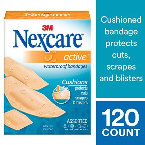 Nexcare Active Extra Cushion Bandages, Tough, Assorted Sizes, 30 Count Packages (Pack of 4)