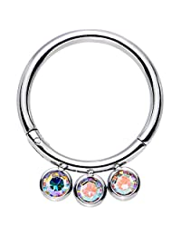 """Body Candy Stainless Steel Aurora Accent Trio Hinged Segment Ring 16 Gauge 3/8"""""""