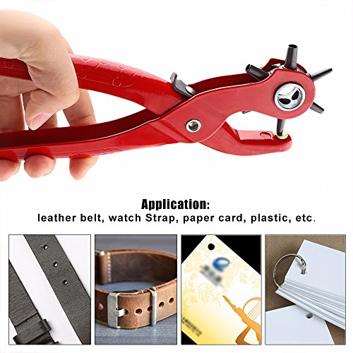 9'' Sewing Leather Belt Hole Puncher Pliers Hook Clamp 2/2.5/3/3.5/4/4.5MM Punch Size For Punching Hole Forceps Punch Head (9' Pliers)