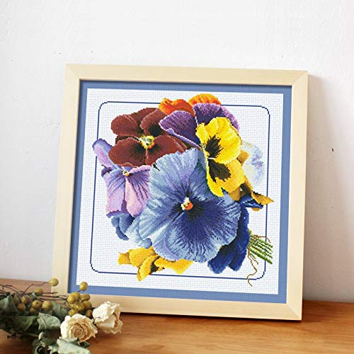 Zamtac Pansy Cross Stitch kit DMC Brand Thread Animal Dog Count Canvas Fabric Embroidery Handmade Needlework Craft Supplies - (Cross Stitch Fabric CT Number: 14ct unprint 48x47cm) (Count Cross Stitch Pansy)