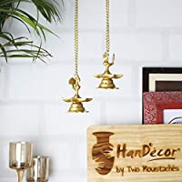 Two Moustaches Brass Peacock Hanging Diya Set (2 Units)