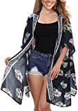 Womens Summer Vintage Floral Kimono Loose Beach Cover up Swimwear (Navy Blue,XL)