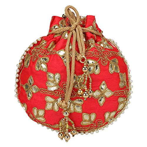 (Indian Ethnic Designer Embroidered Silk Potli Bag Batwa Pearls Handle Purse (Another Red- Designed))