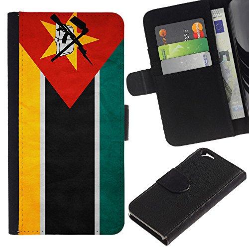 EuroCase - Apple Iphone 6 4.7 - Mozambique Grunge Flag - Cuir PU Coverture Shell Armure Coque Coq Cas Etui Housse Case Cover