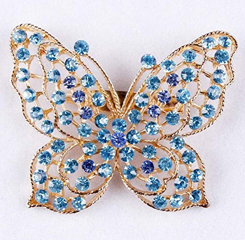 Assorted Colors Blue/Pink/Purple/Coffe/Clear Crystal Rhinestones Butterfly Brooch Pins for Women - Blue