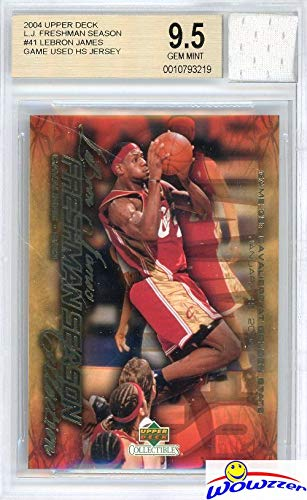 2003/04 Upper Deck Freshman Season #41 Lebron James Rookie Card with Piece of Authentic Lebron James Game Used High School Jersey Graded BGS 9.5 Gem Mint! Amazing SUPER HIGH GRADE GGUM Card! WOWZZER! - Graded Bgs Gem Mint