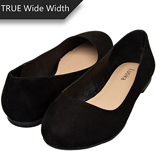 Luoika Women's Wide Width Flat Shoes - Comfortable Slip On Round Toe Ballet Flats. (180110 Black Suede,9WW) ()