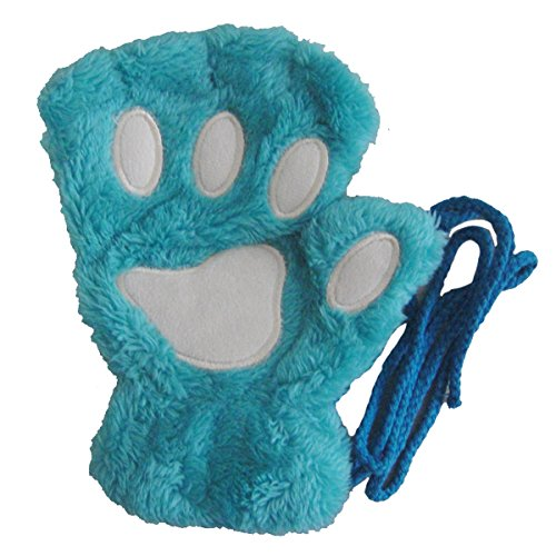 Winday Women Bear Plush Cat Paw Claw Glove Soft Winter Gloves -