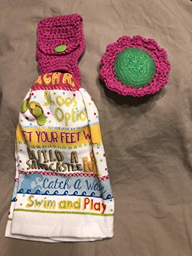 Free ship to USA - 3 piece set - Tropical Beach Life - 1 CROCHET Plastic Scrubber, Towel holder & KITCHEN hand TOWEL light weight terry cloth - PINK 100% cotton yarn