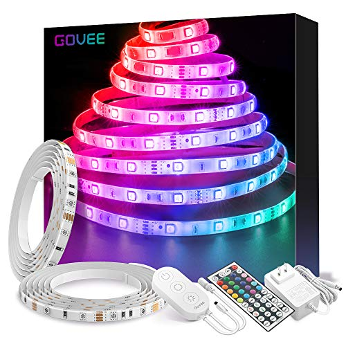 LED Strip Lights, Govee 32.8ft Waterproof Color Changing Light Strip Kit with Remote, Bright 5050 LEDs and Strong 3M Adhesive, Colored Rope Light for Room, Bedroom, Kitchen, Yard, Corridor Decoration -