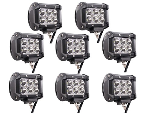 Lumitek 8PCS 4inch 18W LED Light Bar CREE Spot Light 1500LM Led Pods IP67 Waterproof Driving Fog Lights Off Road Led Lights Boat Lights for Pickup Jeep Trucks SUV UTV Tanks Van Camper (Pickup Truck Tank)
