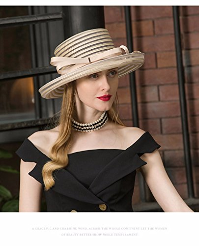 Krastal Womens Fascinators British Ladies Wide Brim Hat Vintage Kentucky Derby Fedora by Krastal (Image #5)