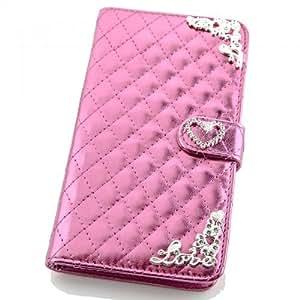 Portatil Style Diseño Funda de cuadros Metallic con tarjeta de visita Función y brillantes en relieve (Love) Flip Cover Funda Carcasa Funda Case Modern Bag para Samsung Galaxy S5G900F/G900H en rosa