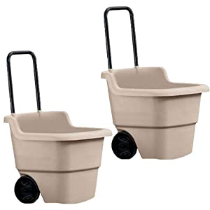 Suncast 15 Gallon Capacity Poly Multipurpose Rolling Lawn and Garden Cart, Taupe (2 Pack)