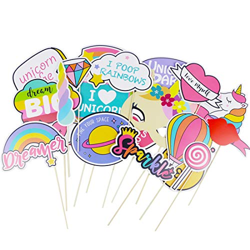 Unicorn Party Supplies 28 Pcs Rainbow Photo Booth Props Party Favors Decorations for Girls or Kids