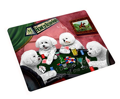 Home of Bichon Frise 4 Dogs Playing Poker Art Portrait Print Woven Throw Sherpa Plush Fleece Blanket (50x60 Fleece)