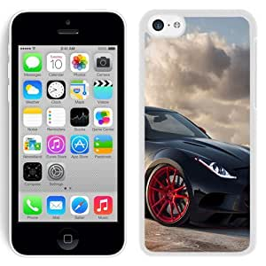 Beautiful Unique Designed iPhone 5C Phone Case With Jaguar C-X16 Black Red Rims_White Phone Case