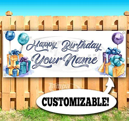 Flag, Advertising Happy Birthday Customizable 13 oz Heavy Duty Vinyl Banner Sign with Metal Grommets Many Sizes Available New Store